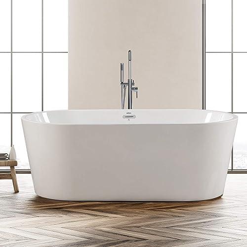 Buy Ferdy Freestanding Bathtub 67 X 31 Classic Oval Shape Freestanding Soaking Acrylic Bathtub F 0522 Modern White Cupc Certified Drain Overflow Assembly Included Online In Belarus B0892djmty
