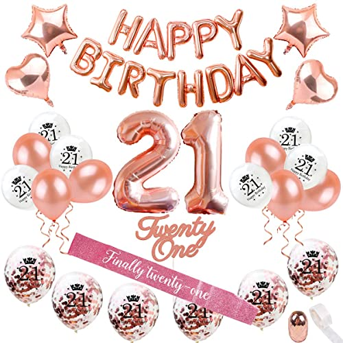 21st Birthday Decorations Party Supplies Rose Gold 21 Birthday Balloon Number Rose Gold Confetti Balloons 21 Birthday Cake Topper Birthday 21 Sash Birthday Party Supplies 21 By Qifu Buy Products