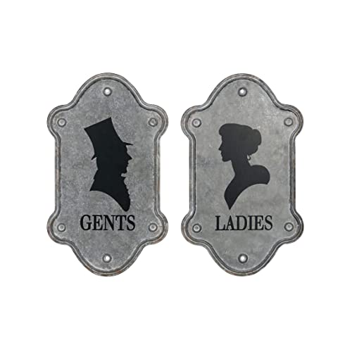 Buy Nikky Home 14 X 12 Wall Mounted Vintage Galvanized Ladies Gents Toilet Sign Plaque For Shop Hotel Bar Grey Online In Belarus B07q8kmpmn